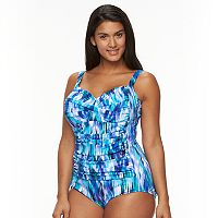 Plus Size Trimshaper Tummy Slimmer Control Printed One-Piece Swimsuit
