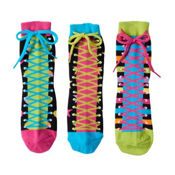 Girls 4-9 Little Miss Matched 3-pk. Zany Sneaker Anklet Socks