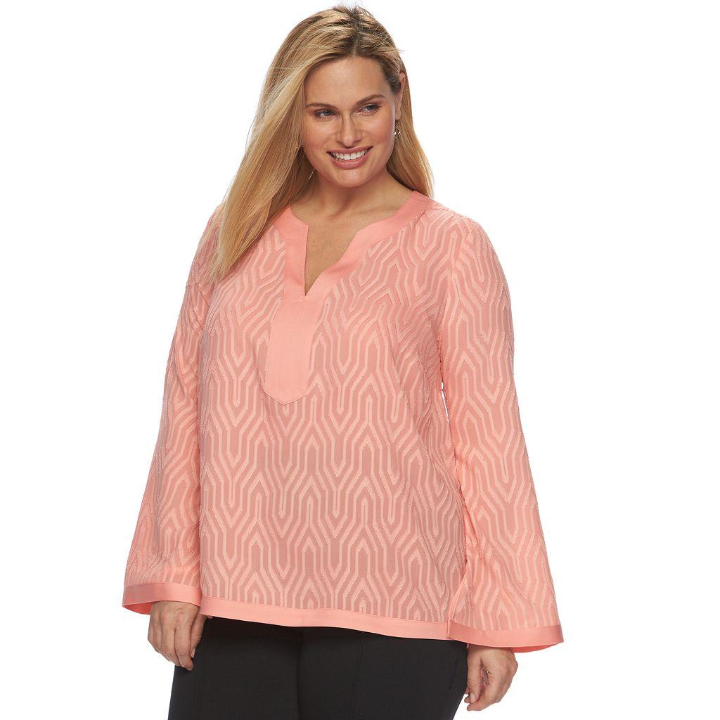 Plus Size Dana Buchman Textured High-Low Tunic