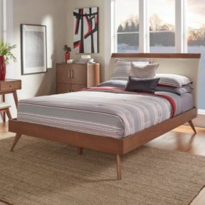 HomeVance Skagen Mixed-Media Walnut Finish Upholstered Platform Bed