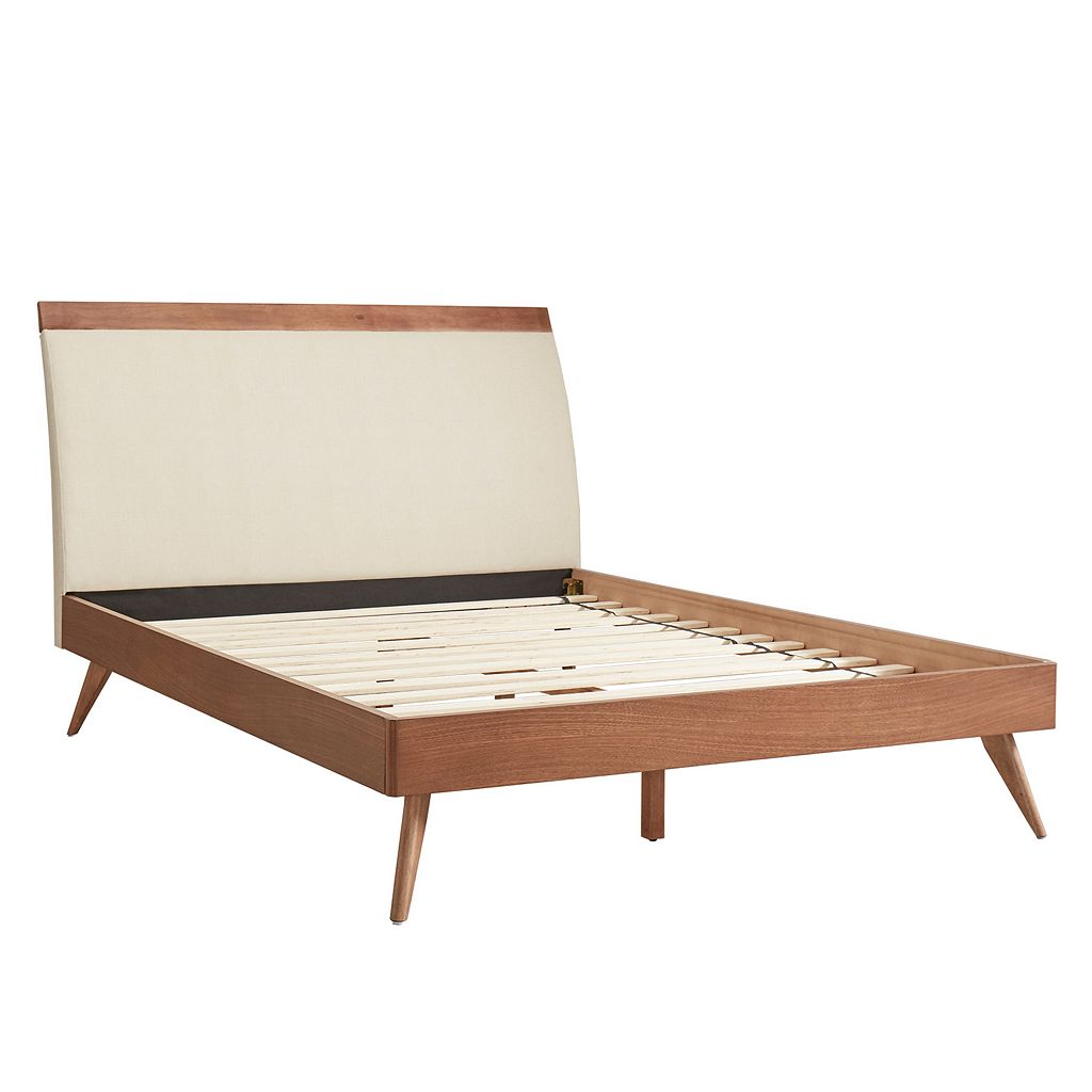 HomeVance Skagen Mixed-Media Walnut Finish Upholstered Platform Bed
