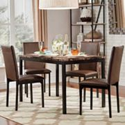 HomeVance Catania Dining Table & Faux-Leather Dining Chair 5 pc Set