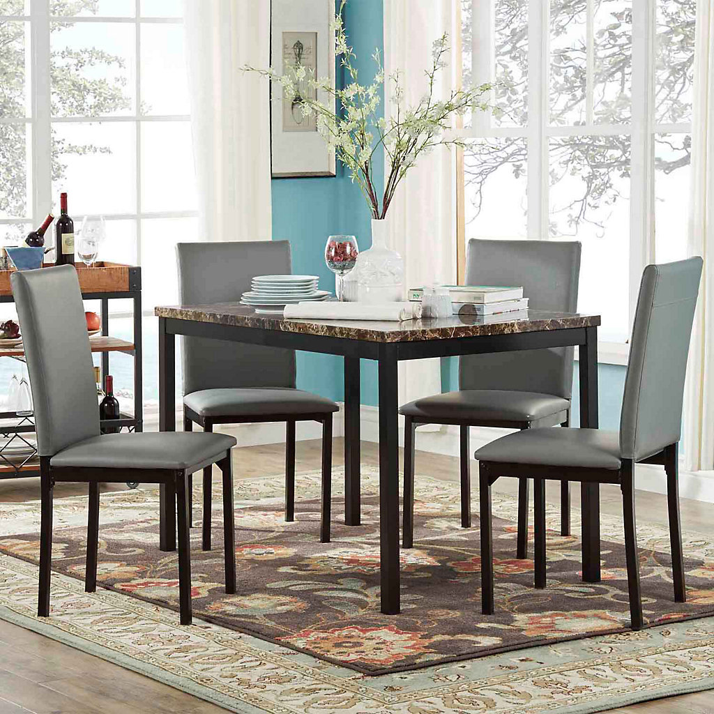 HomeVance Catania Dining Table & Faux Leather Dining Chair 9 piece Set