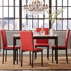 HomeVance Catania Dining Table Faux Leather Chair 5 Piece Set