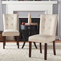 HomeVance August Button Tufted Linen Accent Chair 2 pc Set