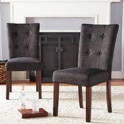 HomeVance August Button Tufted Linen Accent Chair 2-piece Set