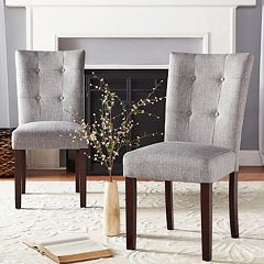 HomeVance August Button Tufted Linen Accent Chair 2-piece Set