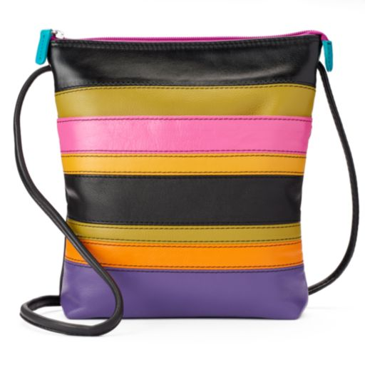 ili Striped Leather Crossbody Bag