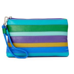 ili Striped Leather Wristlet