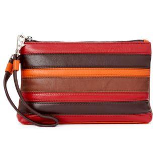 ili Striped Leather Wristlet