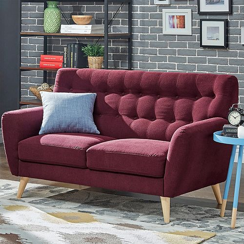 HomeVance Peralta Button Tufted Loveseat