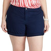 Plus Size Chaps Cuffed Twill Shorts