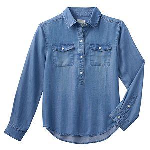 Girls 7-16 Mudd® High-Low Popover Chambray Shirt