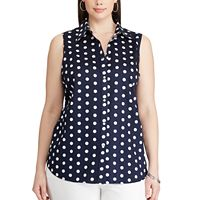 Plus Size Chaps Polka-Dot Shirt