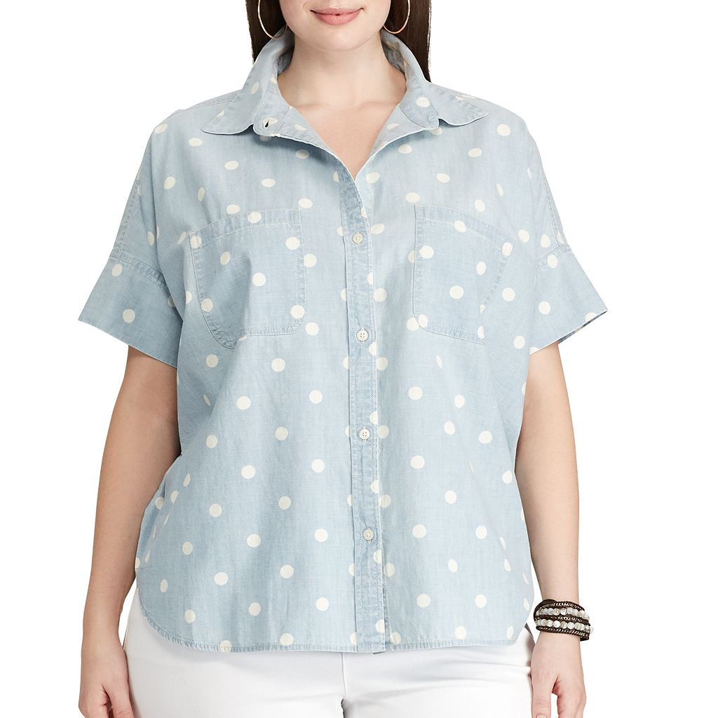 Plus Size Chaps Polka-Dot Chambray Shirt