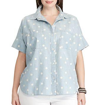 Plus Size Chaps Polka-Dot Chambray Shirt