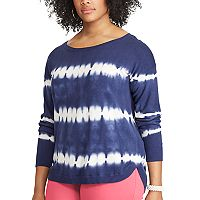 Plus Size Chaps Tie-Dye Scoopneck Sweater