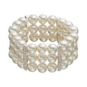 Simulated Pearl Multi Row Stretch Bracelet