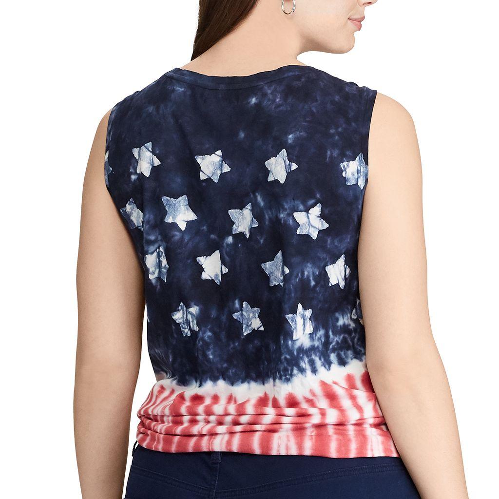 Plus Size Chaps Tie-Dye Flag Graphic Tank