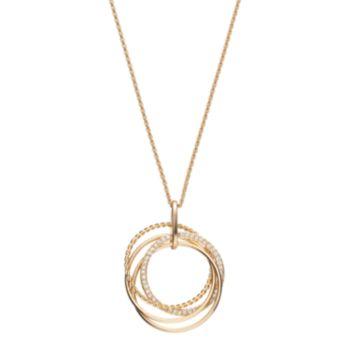 Long Multi Circle Pendant Necklace