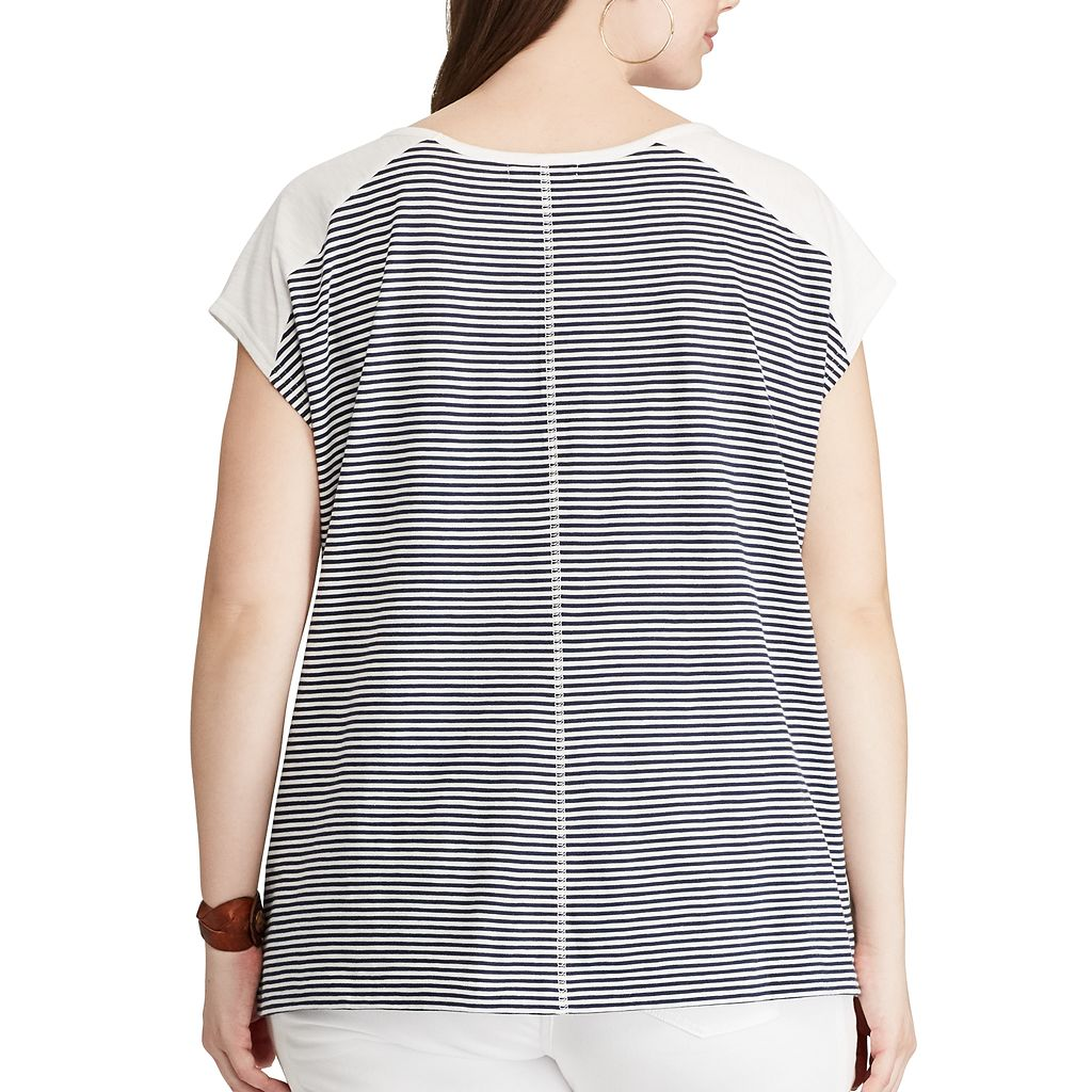 Plus Size Chaps Striped Pocket Tee