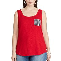 Plus Size Chaps Striped-Pocket Tank
