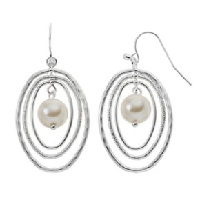 Nickel Free Simulated Pearl Oval Drop Earrings