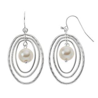 Nickel Free Simulated Pearl Oval Drop Earrings