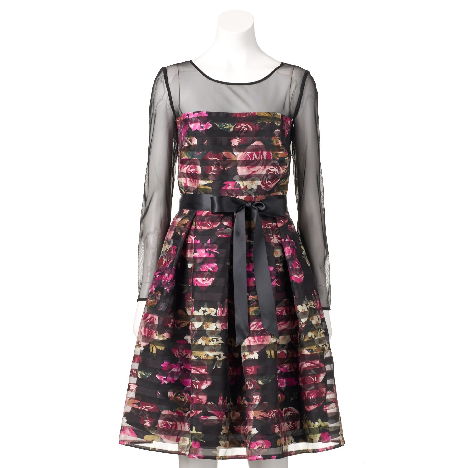 Womens Expo Floral & Mesh Striped Fit & Flare Dress