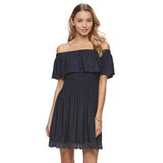Juniors' Trixxi Eyelet Off The Shoulder Dress