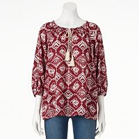 Women's Double Click Printed Peasant Top
