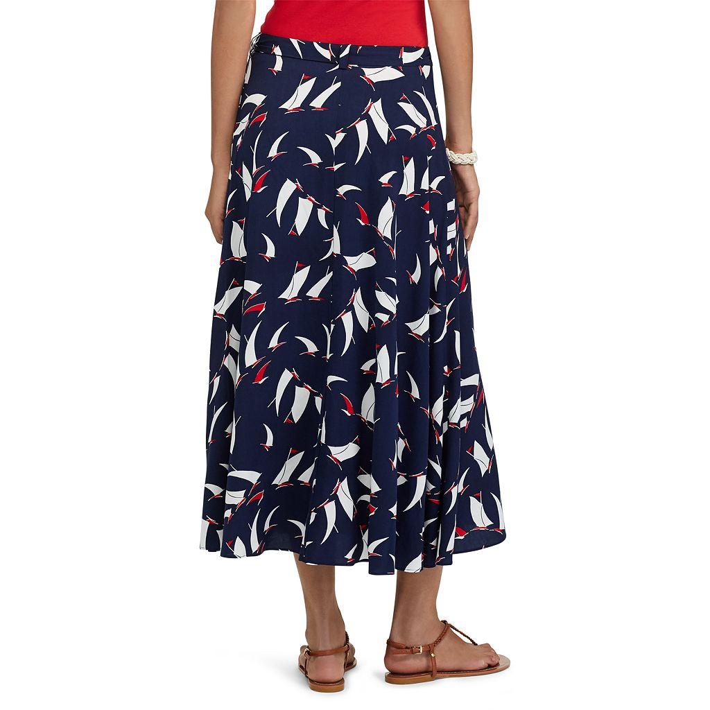 Petite Chaps Sailboat Wrap Maxi Skirt