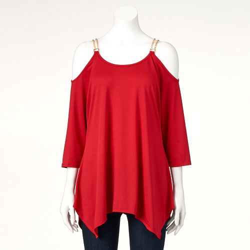 Women's Double Click Chain Cold-Shoulder Top