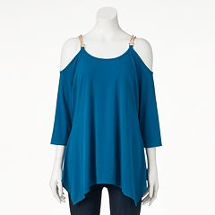 Women's Double Click Chain Cold-Shoulder Top