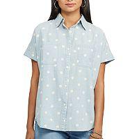 Petite Chaps Polka-Dot Chambray Shirt