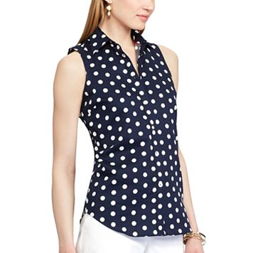 Petite Chaps Dot Sleeveless No-Iron Shirt
