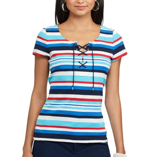 Petite Chaps Striped Lace-Up Tee