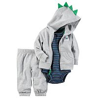 Baby Boy Carter's Dinosaur Cardigan, Bodysuit & Jogger Pants Set