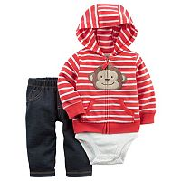 Baby Boy Carter's Monkey Cardigan, Bodysuit & Pants Set