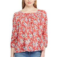 Petite Chaps Floral Smocked Peasant Top