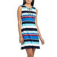 Petite Chaps Striped Lace-Up Dress