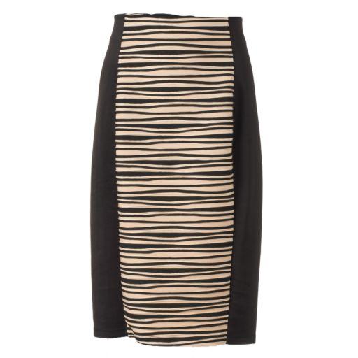 Women's Double Click Wavy Scuba Pencil Skirt