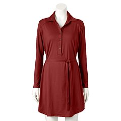 Women's Double Click Solid Shirtdress