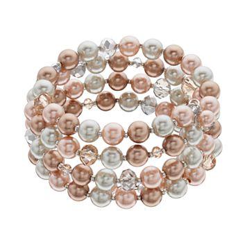Tri Tone Simulated Pearl Coil Bracelet