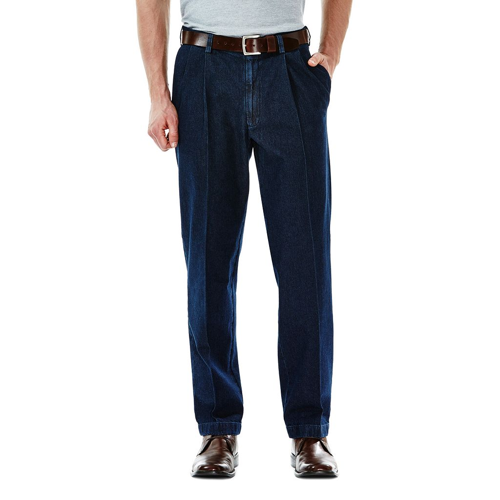 Big & Tall Haggar Work to Weekend Classic-Fit Pleated Denim Pants