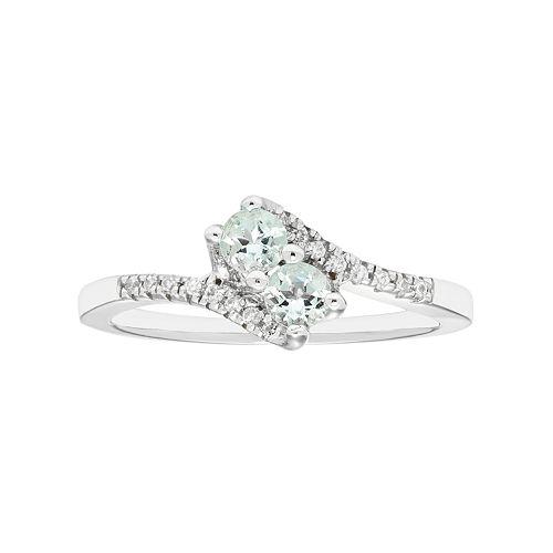 6eddb6edc2e10 Sterling Silver Aquamarine Two Stone & Diamond Accent Bypass Ring