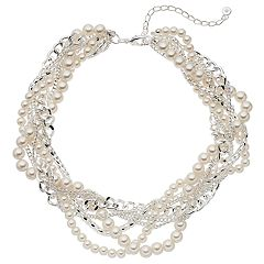 Simulated Pearl Multi Stand Necklace