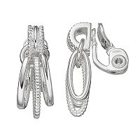Napier Textured Triple Oval Link Clip On Earrings