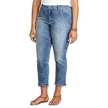 Plus Size Chaps Banana Leaf Capri Jeans