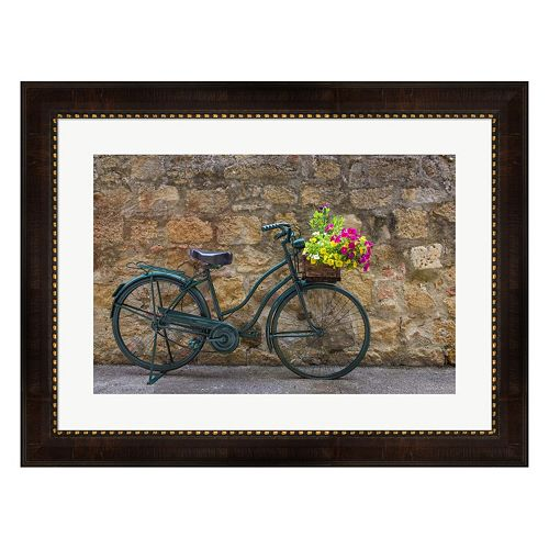 Metaverse Art Green Bicycle Framed Wall Art